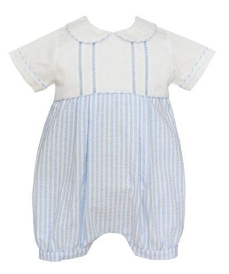 Anavini Couture Baby Boys Blue Striped Seersucker Bubble