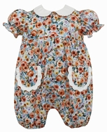Anavini Couture Baby Girls Orange Floral Bubble with Pockets