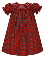 Anavini Couture Baby Girls Red Holiday Plaid Smocked Bishop Dress