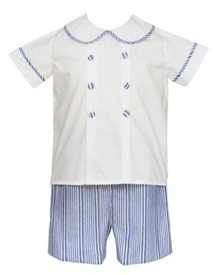 Anavini Couture Baby / Toddler Boys Blue Striped Dressy Shorts Set