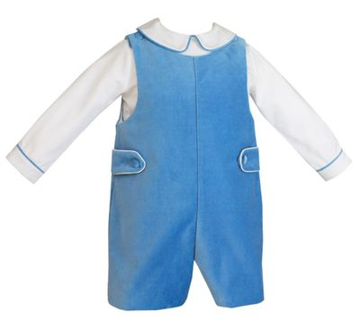Anavini Couture Baby / Toddler Boys French Blue Velvet Shortall with Shirt