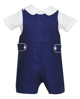 Anavini Couture Baby / Toddler Boys Navy Blue Linen Shortall with Shirt