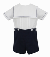 Anavini Couture Baby / Toddler Boys Navy Blue Dressy Shorts Set - Square Collar