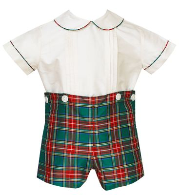 Anavini Couture Baby / Toddler Boys Red / Green Holiday Plaid Silk Button On Suit
