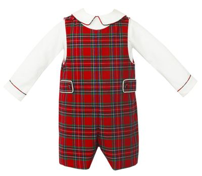 Anavini Couture Baby / Toddler Boys Red Holiday Plaid Shortall with Shirt