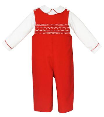 Anavini Couture Baby / Toddler Boys Red Smocked Christmas Longall with Shirt