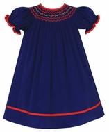 Anavini Couture Baby / Toddler Girls Blue Corduroy Bishop Dress - Smocked in Red