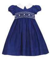 Anavini Couture Baby / Toddler Girls Navy Blue Linen Smocked Float Dress with Collar