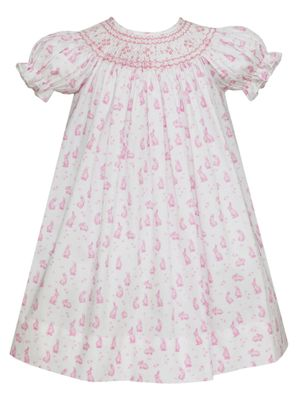 Anavini Couture Baby / Toddler Girls Pink Easter Bunny Print Smocked Bishop Dress