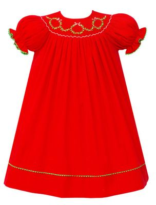 Anavini Couture Baby / Toddler Girls Red Corduroy Smocked Christmas Wreaths Dress - Bishop