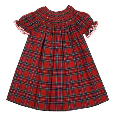 Anavini Couture Baby / Toddler Girls Red Holiday Plaid Smocked Dress - Bishop