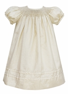 Anavini Couture Baby / Toddler Girls Sparkle Gold Holiday Party Dress - Smocked Bishop