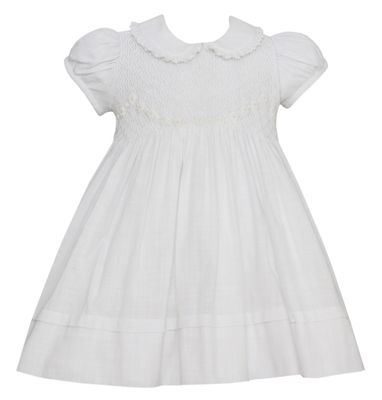 Anavini Couture Baby / Toddler Girls White Linen Look Cotton Smocked Dress