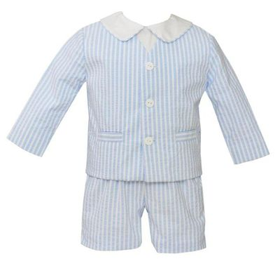 Anavini Couture Boys Blue Striped Seersucker Three Piece Eton Suit