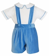 Anavini Couture Boys Velvet Suspender Shorts with Shirt - French Blue