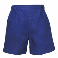 Anavini Couture Boys Navy Blue Linen Dress Shorts