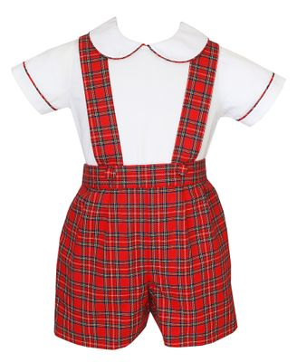 Anavini Couture Boys Red Holiday Plaid Suspender Shorts with Shirt