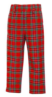 Anavini Couture Boys Red Holiday Plaid Tailored Pants