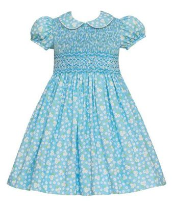 Anavini Couture Girls Aqua Blue Floral Dress with Collar - Fully Smocked Bodice