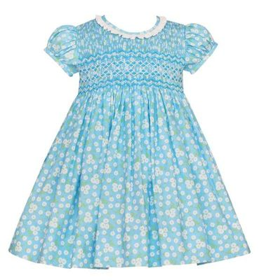 Anavini Couture Girls Aqua Blue Floral Smocked Dress - Ruffle Collar