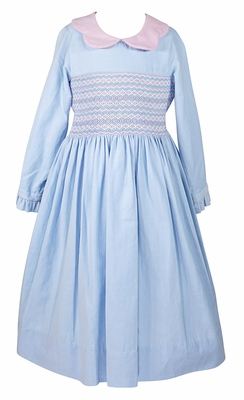 Anavini Couture Girls Blue Corduroy Dress - Pink Scallop Collar - Pink Butterfly Sash in Back - Fully Smocked Bodice