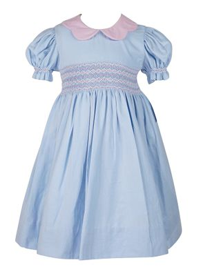 Anavini Couture Girls Blue Corduroy Smocked Float Dress - Pink Scallop Collar - Pink Butterfly Sash in Back