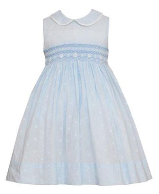 Anavini Couture Girls Blue Dotted Swiss Sleeveless Smocked Bodice Dress with Collar