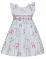 Anavini Couture Girls Blue / Pink Princess Print Smocked Dress - Ruffle Sleeves