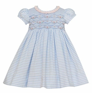 Anavini Couture Girls Blue Stripe Seersucker Smocked Float Dress with Ruffle Collar