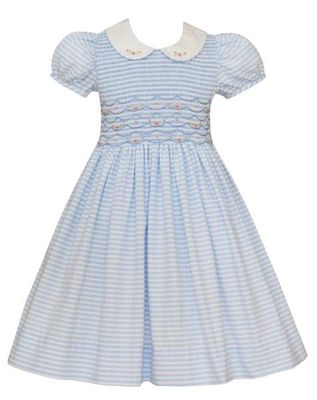 Anavini Couture Girls Blue Striped Seersucker Dress with Collar - Fully Smocked Bodice