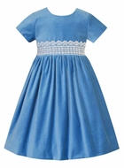 Anavini Couture Girls French Blue Velvet Dress - Eyelet Lace Trim