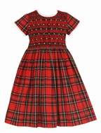 Anavini Couture Girls Classic Red Christmas Plaid Dress - Fully Smocked Bodice and Waist