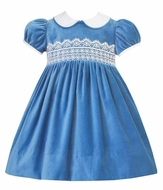Anavini Couture Girls French Blue Velvet Float Dress - Eyelet Lace Trim