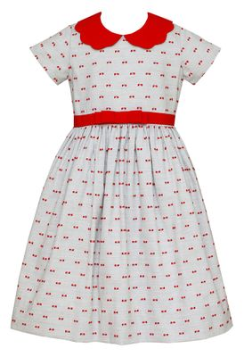 Anavini Couture Girls Gray / Red Bows Dress - Red Scallop Collar