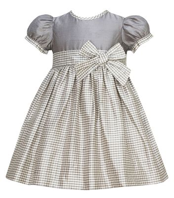 Anavini Couture Girls Grey Check Silk Holiday Party Dress with Big Bow Sash