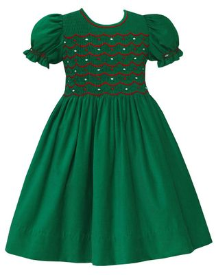 Anavini Couture Girls Kelly Green Corduroy Christmas Dress - Smocked in Red with Red Bow Sash in Back