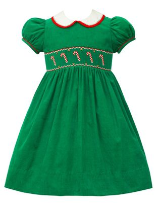 Anavini Couture Girls Kelly Green Corduroy Smocked Candy Canes Dress - Collar