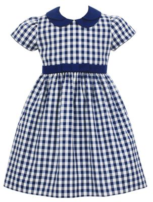 Anavini Couture Girls Navy Blue Check Dress - Double Collar & Bow Sash