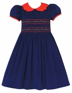 Anavini Couture Girls Blue Corduroy Dress - Red Scallop Collar - Fully Smocked Bodice