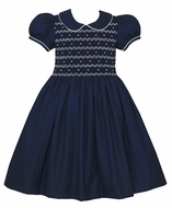 Anavini Couture Girls Navy Blue Dress - Fully Smocked Bodice