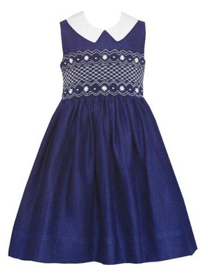 Anavini Couture Girls Navy Blue Linen Sleeveless Dress with Collar - Fully Smocked Bodice