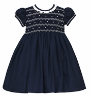 Anavini Couture Girls Navy Blue Smocked Float Dress - Ruffle Collar