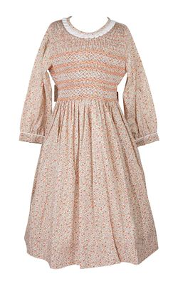 Anavini Couture Girls Orange Fall Floral Dress - Fully Smocked Bodice - Long Sleeves