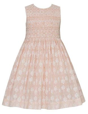 Anavini Couture Girls Peachy Pink Plumetti Voile Sleeveless Dress - Fully Smocked Bodice