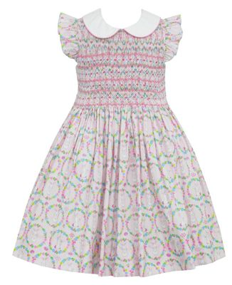 Anavini Couture Girls Pink Bunnies Print Dress - Fully Smocked Bodice
