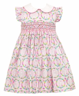 Anavini Couture Girls Pink Bunnies Print Smocked Dress with Collar