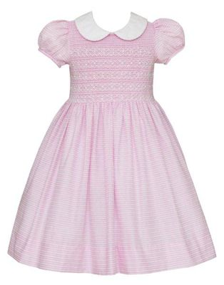 Anavini Couture Girls Pink Stripe Voile Dress with Collar - Fully Smocked Bodice