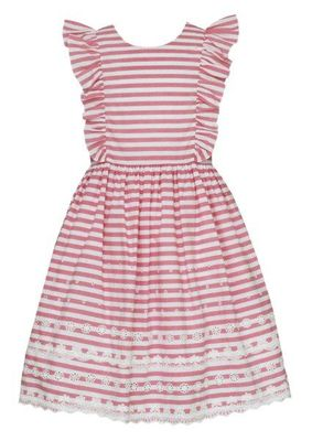 Anavini Couture Girls Raspberry Pink Stripe Embroidered Eyelet Pinafore Dress