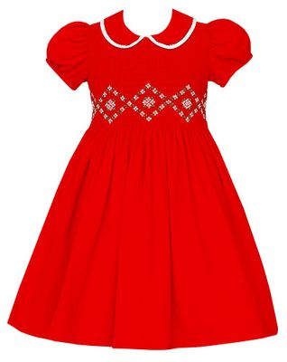 Anavini Couture Girls Red Corduroy Christmas Dress with Collar - Fully Smocked Bodice