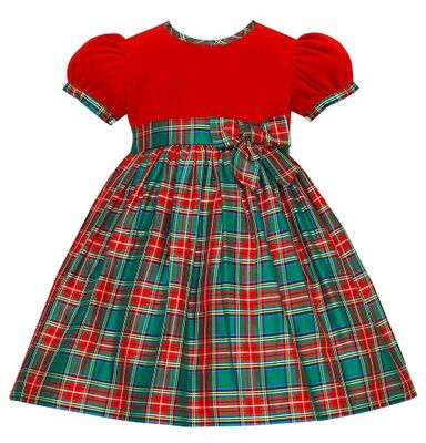 Anavini Couture Girls Red / Green Holiday Plaid Silk Float Dress - Velvet Bodice